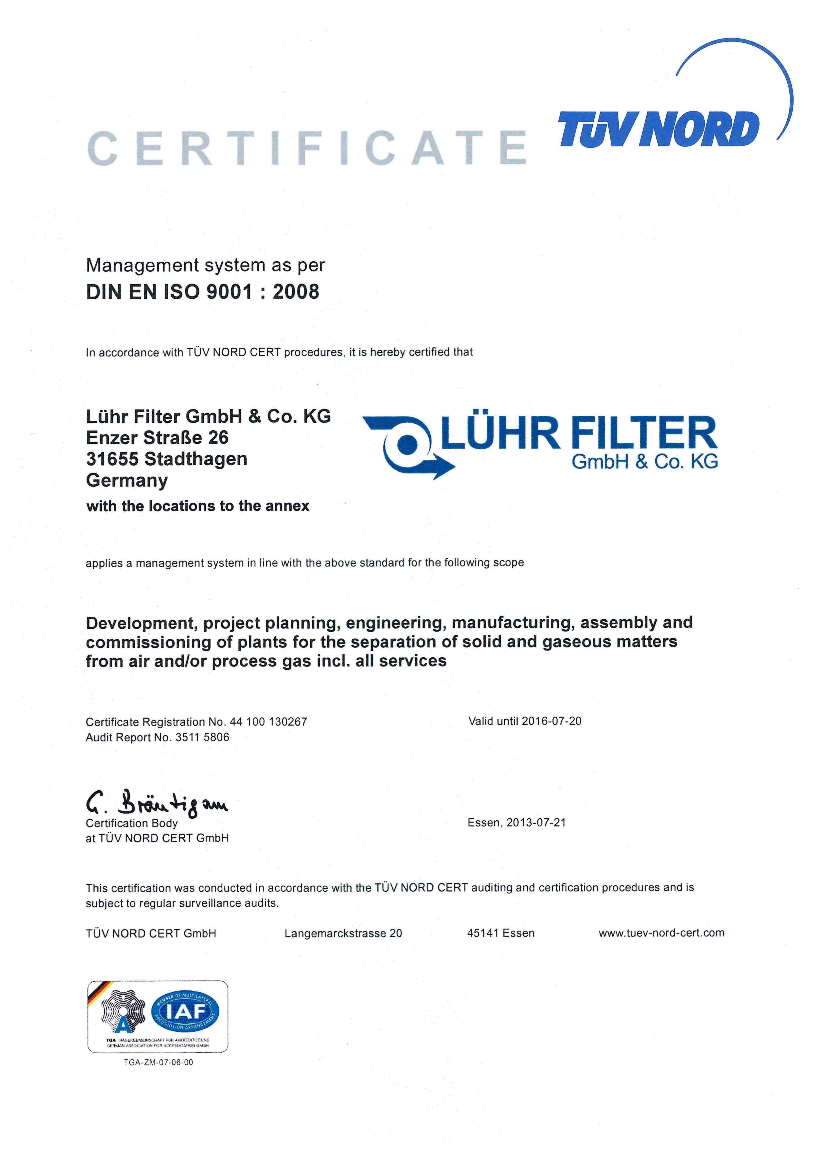 ISO 9001 Certification | Luhrfilter Ltd